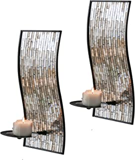 mosaic glass candle wall sconces