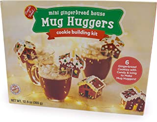 No-Bake, Gingerbread Mug Hugger and Hot Chocolate Topper | Decorate and Dunk - Set of 6 Mini Gingerbread Houses