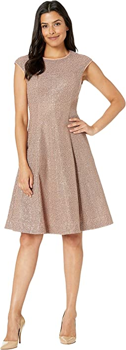 Illusion Sequin Fit and Flare Dress