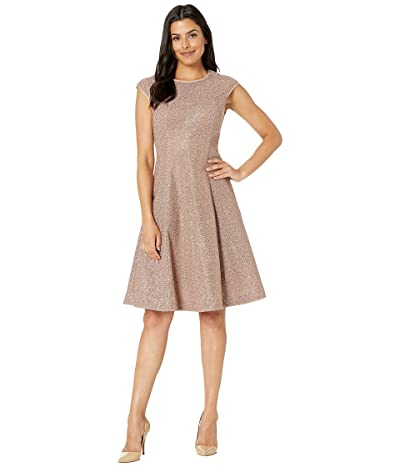 Maggy London Illusion Sequin Fit and Flare Dress (Brick) Women