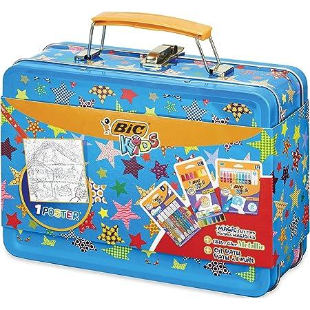 BIC Kids Maletín de Colores para Niños con 12 Rotuladores, 12 Ceras, 6 Tubos de Pegamento con Purpurina y 1 Dibujo para Colorear