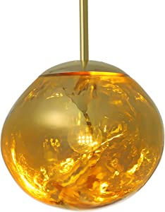 """RUNNUP Modern Pendant Light Creative Single Light 12"""" Hanging Lamp with Melt Glass Shade in Gold for Dining Rooms,Living Room"""