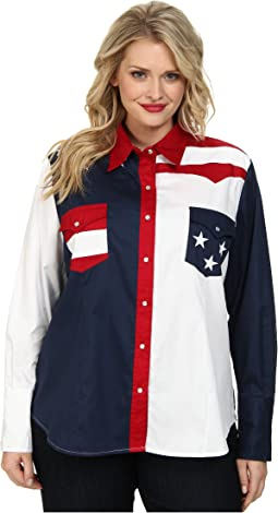Plus Size Pieced Stars and Stripes Patriotic