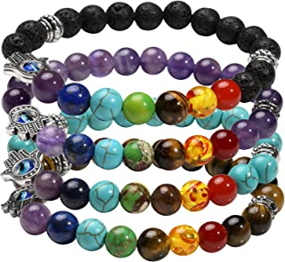 1-6 Pcs Evil Eye Bracelet Lava Stone Beads Essential Oil Diffuser Bracelet for Men Women