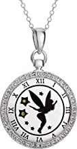 """Disney Tinkerbell Sterling Silver """"Never grow Up"""" Engraved Crystal Silhouette Clock Pendant Necklace"""