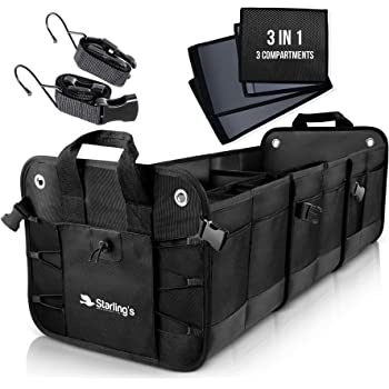 Starling's Car Trunk Organizer - Durable Storage SUV Cargo Organizer Adjustable (Black, 3 Compartments)