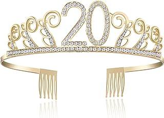 BABEYOND Crystal Birthday Tiara Rhinestone Princess Crown Happy Birthday Crowns Silver Diamante Happy 18/20/21/30/40/50/60/90th Birthday (Gold-20th)
