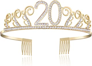 BABEYOND Crystal Birthday Tiara Rhinestone Princess Crown Happy Birthday Crowns Silver Diamante Happy 18/20/21/30/40/50/60/90th Birthday (Gold-20th)