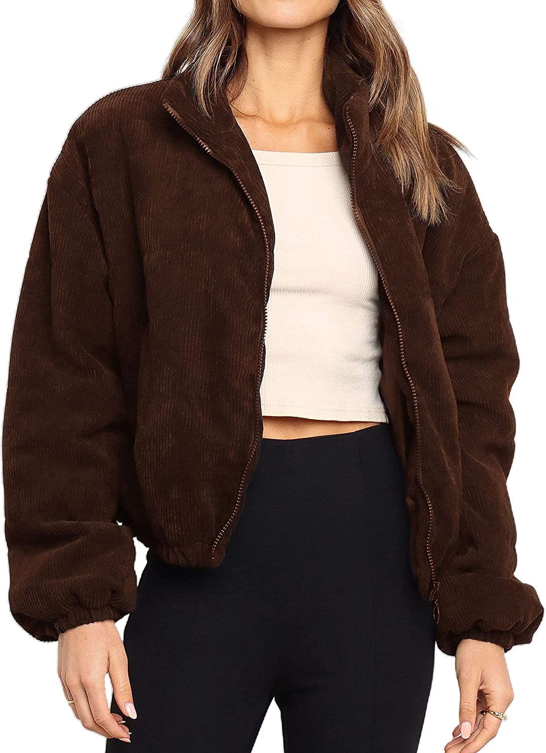 Yeokou Women's Corduroy Puffer Jacket Long Sleeve Quilted Padded Bubble Coat
