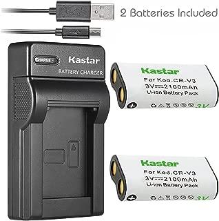 Kastar Battery (X2) & Slim USB Charger forr CR-V3 LB-01 and Olympus C3000 D565 D-100 D-150 D-230 D-370 D-380 D-390 D-40 D-460 D-490 D-520Z D-560Z, Kodark EasyShare C310 C530 C875 + More Camera