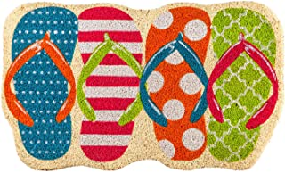 Evergreen Flag Beautiful Colorful Flip Flops Shaped Textured Coir Welcome Mat - 30 x 18 Inches Fade and Weather Resistant ...