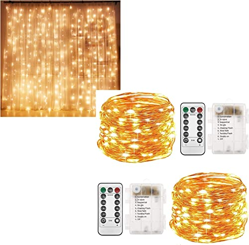 high quality Twinkle Star 300 LED Curtain high quality Lights | 2 Pack online sale 33ft 100 LED Copper Fairy String Lights, Warm White sale