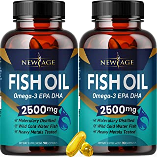 Omega 3 Fish Oil 2500mg Supplement by New Age - 2 Pack – Immune & Heart Support – Promotes Joint, Eye, Brain & Skin Health...