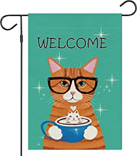 Haustalk Welcome Glasses Cat Garden Flag Vertical Double Sided Burlap Spring Summer Yard Outdoor Decor 12.5 x 18 Inches (1...