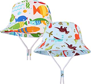 Herepai Bucket Hat Feature Dinosaurs for Boys and Girls Sun Protection Sun Hat with Chin Strap(Baby Toddler Youth)