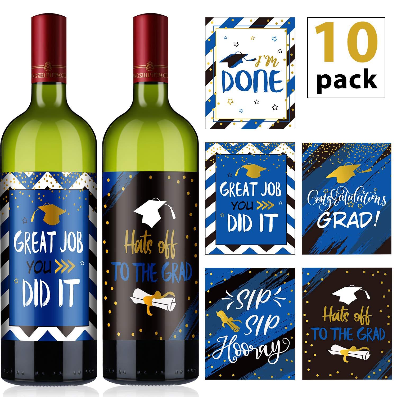 10 Piezas Pegatinas Etiquetas de Copa de Vino de Regalo de Graduación, Decoraciones de Botellas de Cerveza Vino Negro Azul para Suministros de Graduación, 5 Estilos Surtidos: Amazon.es: Oficina y papelería
