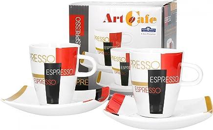 Preisvergleich für Van Well Porzellan 2er Set Geschirr Serie Art Cafe | modernes Pop Art Dekor | Artikel wählbar, Serie Art Cafe:Espressotasse + Untertasse