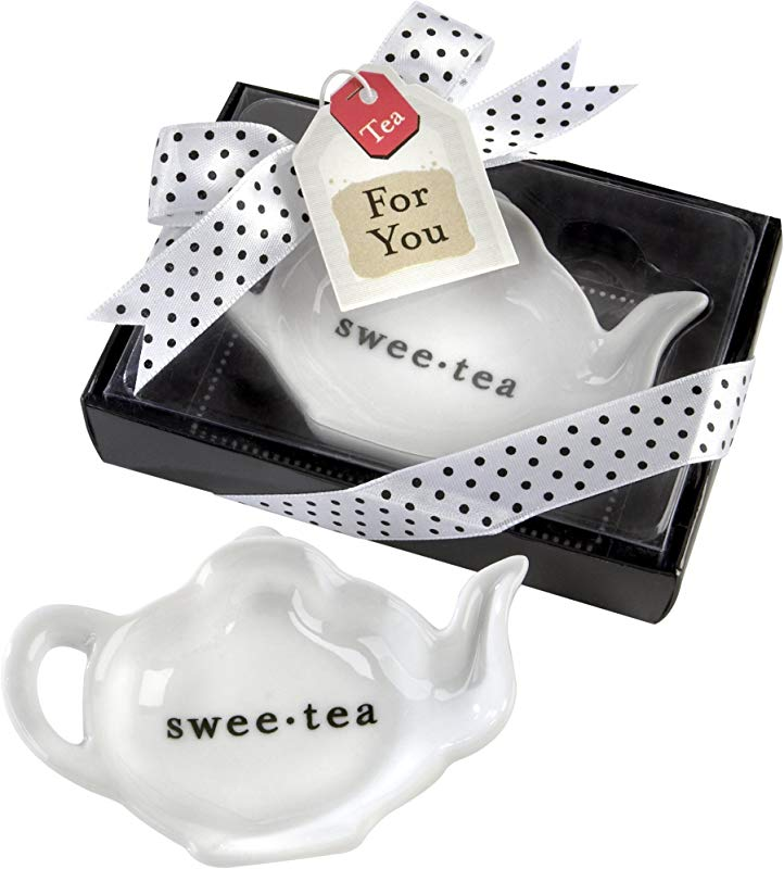 Swee Tea Ceramic Tea Bag Caddy In Black White Serving Tray Gift Box