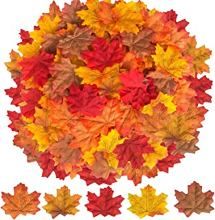 500 Pcs Fall Leaves Thanksgiving Decorations for Home Autumn Artificial Fake Leaves for Thanksgiving Halloween Decorations Outdoor Indoor Wedding Festival Party Table Decor (5 Colors)