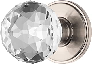 Decor Living, AMG and Enchante Accessories Faceted Crystal Door Knobs with Lock, Privacy Function for Bed and Bath, IRIS Collection, Satin Nickel