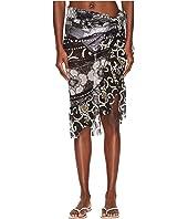 FUZZI - Pareo Skirt with Ruffle In Batik Print