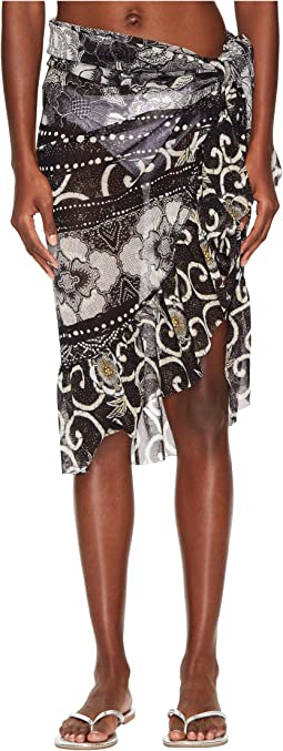 FUZZI - Pareo Skirt with Ruffle In Batik Print