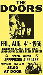 "The Doors - Jefferson Airplane - New York City 13""x22"" Vintage Style Showprint Poster - Concert Bill - Home Nostalgia Decor Wall Art Print"