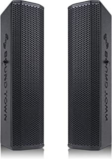 """Sound Town Pair of Passive Wall-Mount Column Mini Line Array Speakers with 4 x 5"""" Woofers, Black for Live Event, Church, C..."""