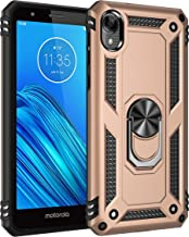 $26 » Compatible with Moto E6 Phone case with Kick Stand Slot with Magnetic car Place and Ring: Full Body Protection Armor Dual Shock Proven Protection Cover (Gold)