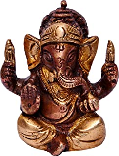 Purpledip Hindu Religious God Small Statue of Lord Ganesha (Ganapathi or Vinayaka) in Solid Pure Brass Metal with Unique Copper Silver Finish for Table Top, Car Dashboard or Office/Shop Puja (10646)
