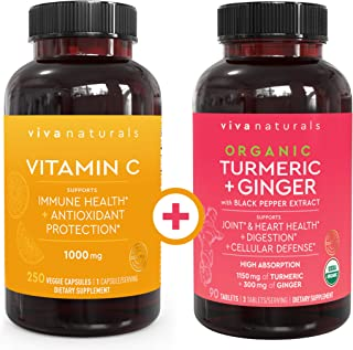 Viva Naturals Vitamin C 1000mg (250 Capsules) and Organic Turmeric Curcumin Supplement with Ginger Extract (90 Tablets) Bu...