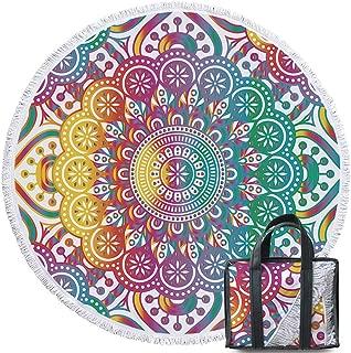 Sleepwish Mandala Round Beach Towel Blanket Colorful Beach Throw Tapestry Yoga Mat Sunscreen Shawl Wrap Skirt Tassels (60