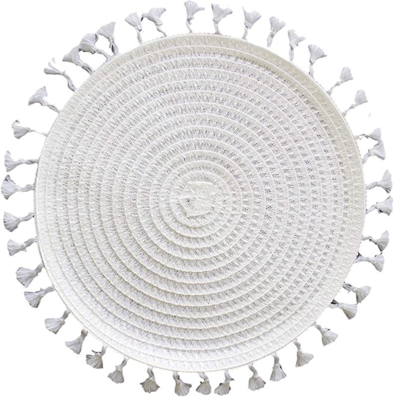 Fennco Styles Tasseled Woven Polypropylene 14 X 14 Inch Placemats Set Of 4 White Round Placemats For BBQ Outdoor Party Beach House Events And Home D Cor