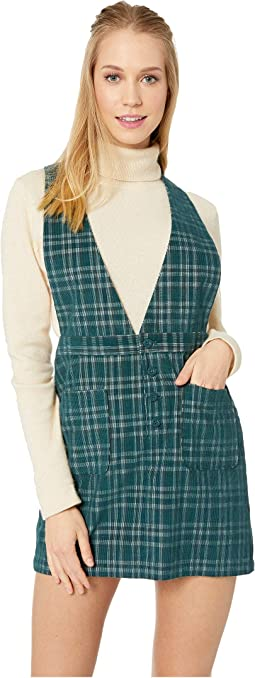 Plaid Influence Corduroy Pinafore Skirt