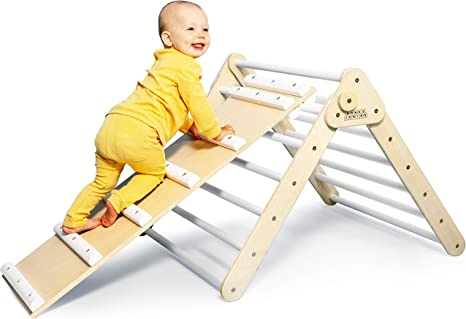 DomusJunior Pikler Triangle for Toddler with Slide - Climbing Triangle Folds Flat for Easy Storage - CPSIA Certified for Maximum Safety - Kids Climber Made Specifically for Babies and Toddlers