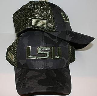Sponsored Ad - LSU Tigers Green/Tan/Black Camo Operator Big Rig Olive Mesh American Flag Snapback Adjustable Adult Men`s Y...