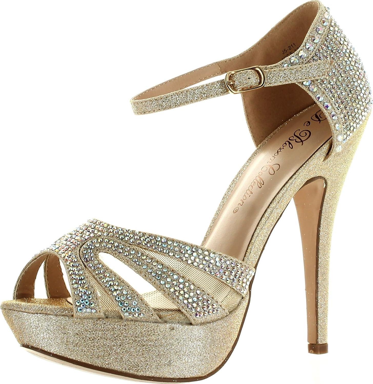 Static Footwear De Blossom Womens Vice-136 Strappy Glitter Stiletto Platform Ankle Strap Dress Sandals