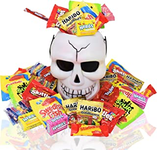 Halloween Skull White Bucket with Assorted Chocolate Bar Candies, 2 Lbs