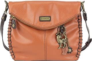 Chala Charming Crossbody Bag With Flap Top   Flap and Zipper Orange Cross-Body Purse or Shoulder Handbag