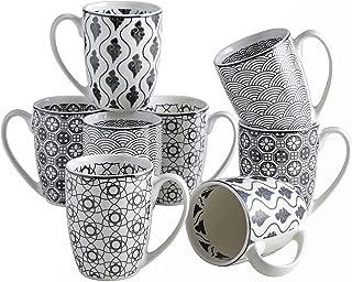 vancasso, Série Haruka, Tasses Mugs en Porcelaine, 8 Pièces 300ml, Ensemble de Tasse à Café Thé, Faïence Style Japonais
