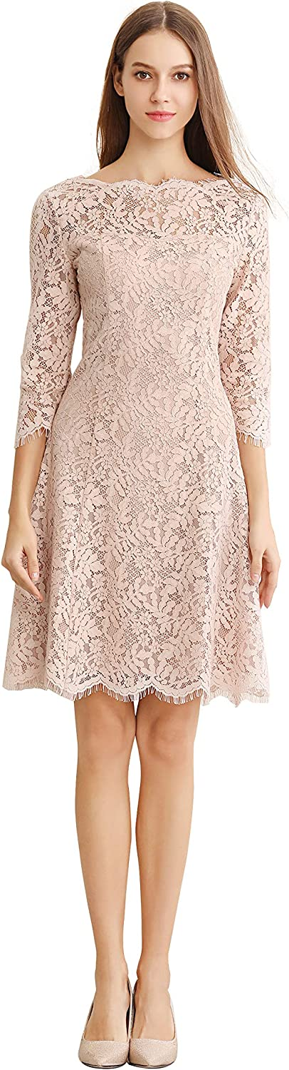 Little Smily Women's Lace Fit and Flare Knee Length Cocktail Dress 3 4 Sleeve