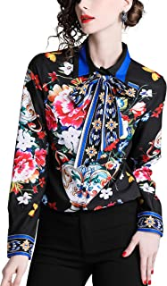 SANHION Women's Long Sleeve Paisley Print Shirt Button Casual Blouse (10 Floral Pattern)