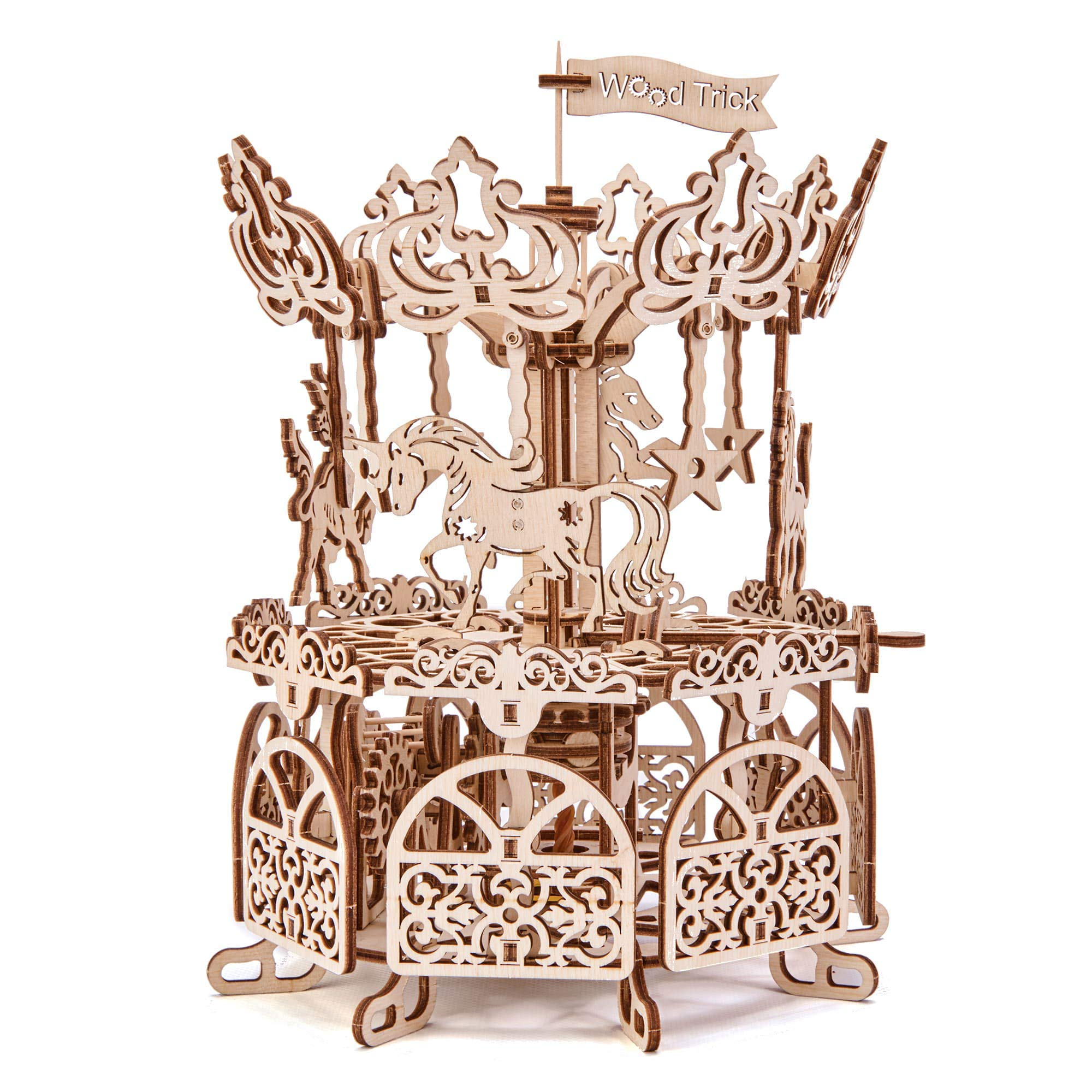 Wood Trick Carousel Merry Go Round Mechanical