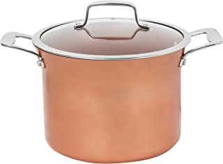 CONCORD 7 QT Copper Non Stick Stock Pot Casserole Coppe-Ramic Series Cookware (Induction Compatible)