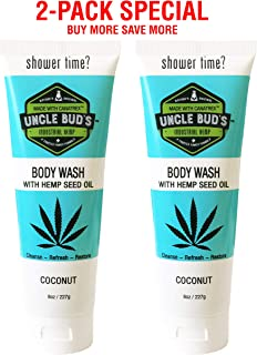 Uncle Bud's Hemp Oil Body Wash With Hemp Seed Oil and Aloe Vera Formulated For Hydrating, Restoring Skin, 2 Pack Special