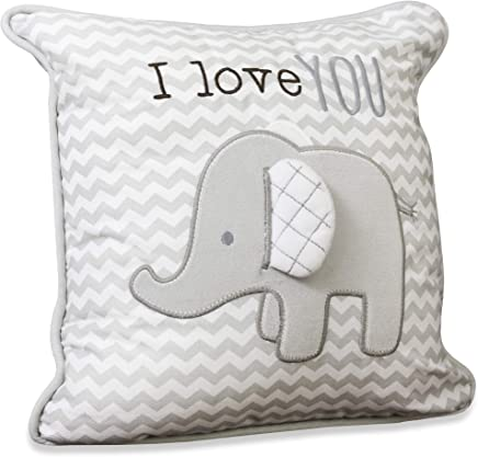 Wendy Bellissimo Super Soft Square Decorative Pillow + Throw Pillow (11x11) Nursery Décor - Elephant Grey and White