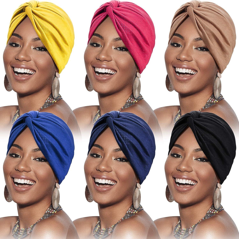 SATINIOR 6 Pieces Turbans for Women Soft Pre-Tied Knot Fashion Pleated Turban Cap Beanie Headwrap Sleep Hat