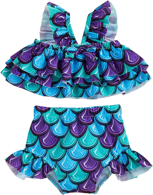 Toddler Baby Girls Mermaid Swimsuits 2 Piece Bikini Ruffle Swimwear Beach Bathing Suit Set