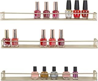 MyGift Set of 3 Brass-Tone Metal Wall Mounted Nail Polish & Essential Oils Display Shelves/Kitchen Spice Jars Rack