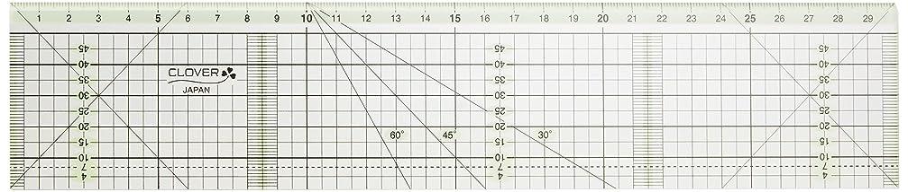 メトリック賢明なジャンクClover カッティング定規 カラーライン 30cm 57-940